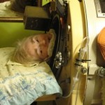 Martha Lillard in her iron lung