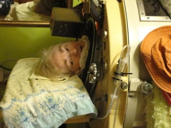 Martha Lillard in her iron lung