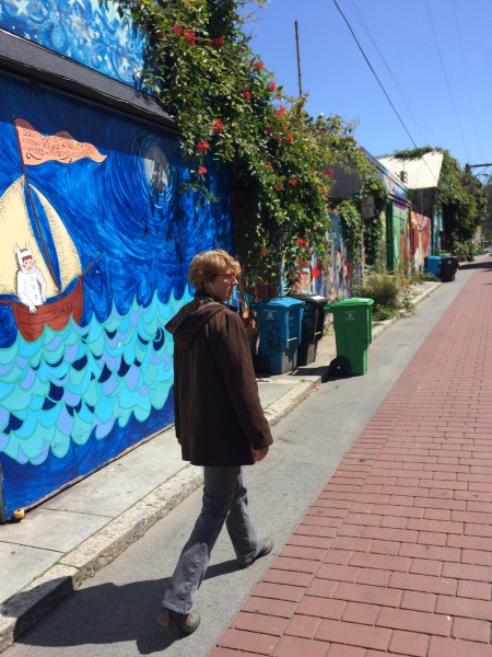 Taking the Mission Detour in Balmy Alley, the Mission's iconic mural alley. (Julia Scott)